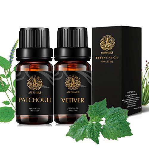 Aromaterapia olio essenziale Set per Diffuser-Vetiver,Patchouli Olio essenziale, terroso Olio Essenziale Set, 100% Pure Vetiver olio Essential Kit,2x10ml terapeutico Grade Patchouli Olio Set per casa