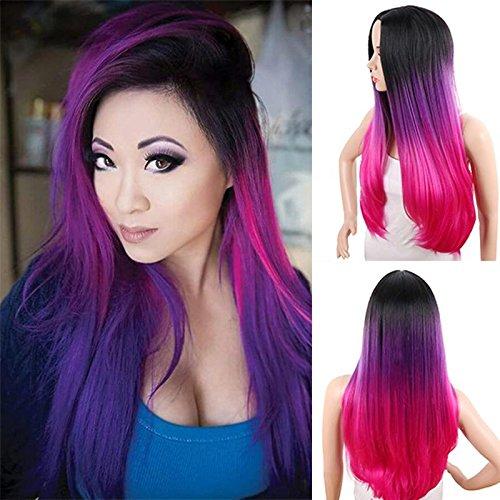 Royalvergine, parrucche sintetiche ombre, lunghe ondulate, femmine, estensioni dei capelli da 26 pollici, 300 g, nero, grigio, viola, rosa, marrone