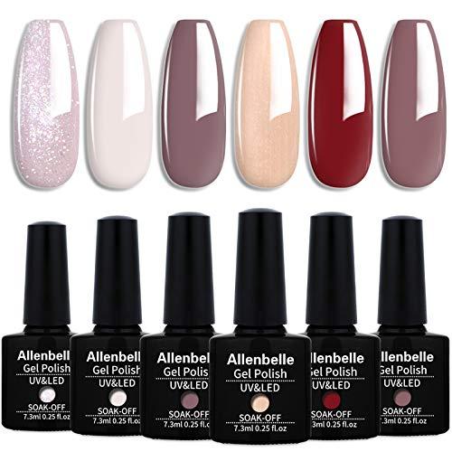 Allenbelle Smalto Semipermanente Smalti Semipermanenti Per Unghie Nail Polish UV LED Gel Unghie(Kit di 6 pcs 7.3ML/pc) 003