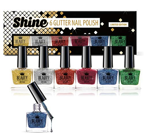 6 x Lusso Smalto per unghie 6 colori differenti di scintillio Brillare Pacco regalo Alta qualità