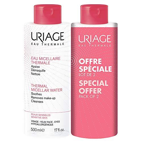 Uriage - Acqua micellare termica per pelli sensibili, 500 ml, confezione da 2