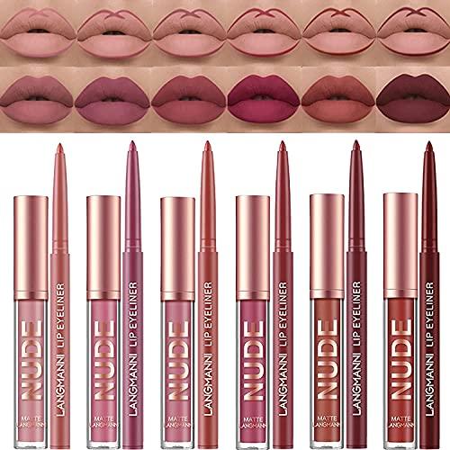 6 pezzi vellutato opaco lip gloss + lip liner set impermeabile rossetto lipliner matita labbra lisce Enhancer set lip make up