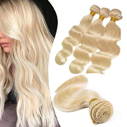 Elailite Extension Matassa Capelli Veri Tessitura Brazilian Human Hair Umani Ricci Ondulati Biondi Fascia Unica 100g - Biondo Chiarissimo (60cm)