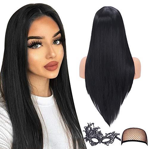 Parrucca liscia nera e setosa per donna con attaccatura dei capelli naturale 22 pollici sintetica per donna