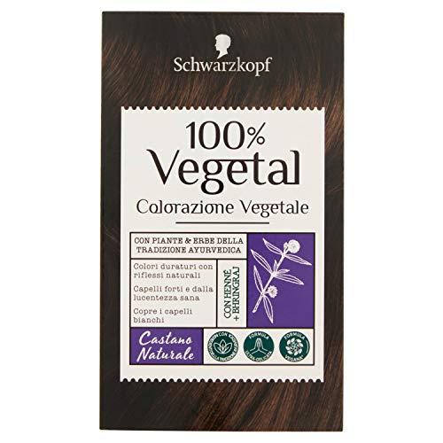 Schwarzkopf 100% Vegetal, Colorazione Vegetale per Capelli, Tinta per Copertura dei Capelli Bianchi, Formula Vegana Ultra Delicata, Castano Naturale