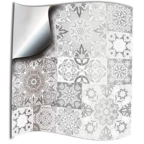 24 Pz Bianco grigio Adesivi per Piastrelle Formato 10x10 cm Cucina Adesivi per Piastrelle per Bagno adesivi - Coperture per piastrelle in vinile piatto stampato in 2D sottile Bianco grigio