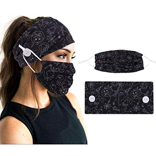 Zoestar - Fascia a turbante per capelli, stile boho, colore nero, alla moda, con stampa di Halloween, per la testa e la maschera per il viso, con bottoni elastici, per capelli e per donne e ragazze