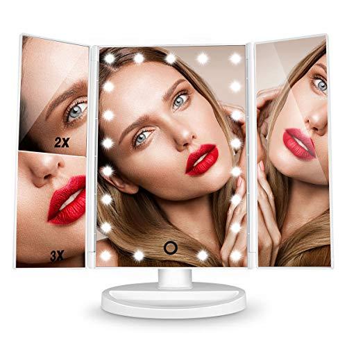HAMSWAN Specchio Trucco con 21 LEDs, Specchio Cosmetico da Trucco con Touch Screen Tri-Fold, Specchio Ingranditore Illuminato, Ruota 180°, Specchio per trucco1X/2X/3X e Caricatore USB.Regalo per Donna
