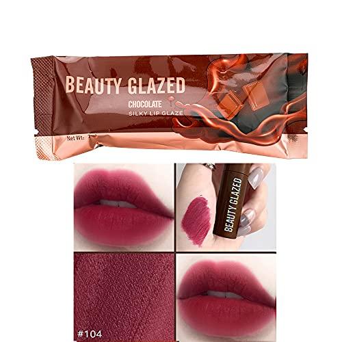 Beauty Glazed Chocolate Rossetto Matte Lip Glaze Velvet Matte Smooth Plush Matte eccellenti prestazioni impermeabili Lip Gloss Sexy Red Lip Makeup Cosmetic # 104 Plum Mauve