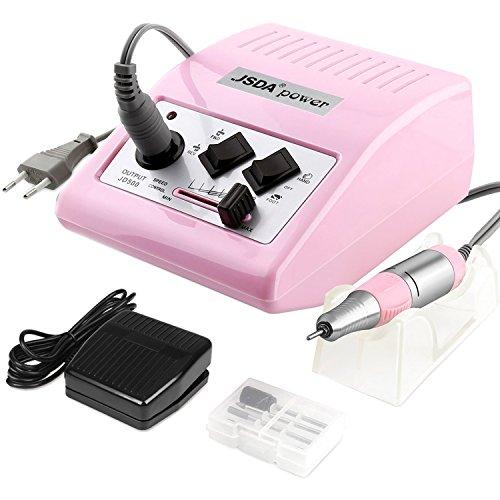 Amz Beauty: Trapano elettrico universale JSDA JD500 (30000 RPM) Set professionale di lime per manicure e pedicure per unghie in acrilico e gel. (Rosa).