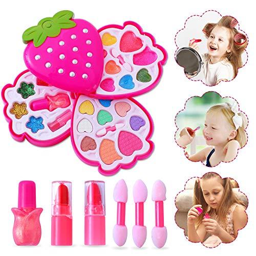 Ulikey Trucchi Bambina Set, Lavabile Makeup Set di Cosmetici per Bambini Trucco Ragazza Giocattolo per Bambini Trucco Ragazza Giocattolo (Rosa Scuro)