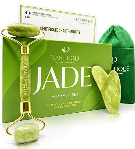 Rullo di giada certificato per il viso - Roller viso Qualità naturale al 100% e premium - Massaggiatore viso anti-età con strumento di raschiatura Gua Sha Face Jade Roller Massage - Massaggio viso