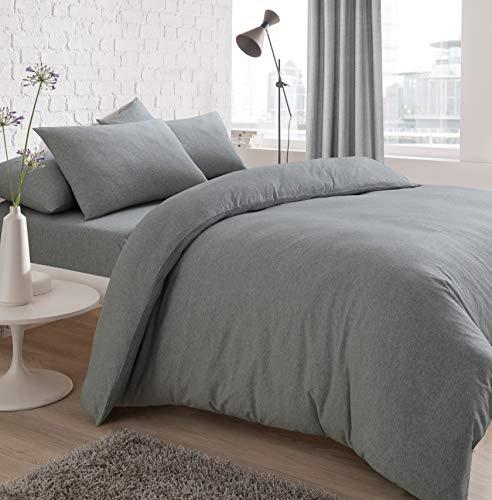 Sleepdown - Set copripiumino in jersey melange, facile da pulire, non necessita di stiratura, con federa per letto singolo, colore: grigio