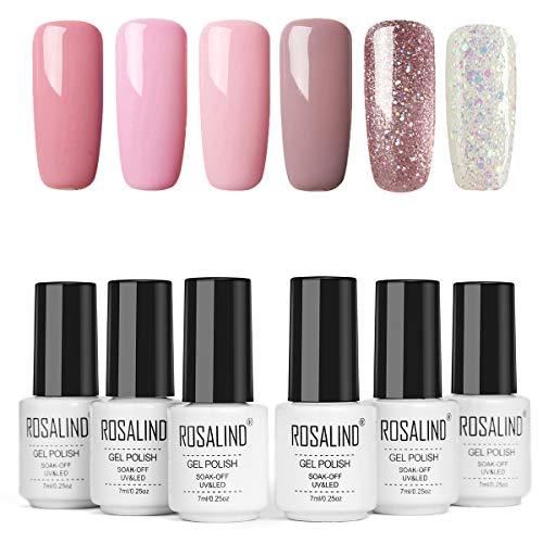 ROSALIND Smalti Semipermanenti Per Unghie 6 Colori Serie Rosa Glitter Elegante Soak Off Smalto Semipermanente Beauty Gel Manicure 7ml