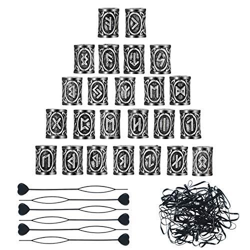 24 perline per capelli e barba, perline vichinghe in stile nordico, 6 forcine per inserire capelli e barba e 160 elastici neri in gomma, con sacchetto