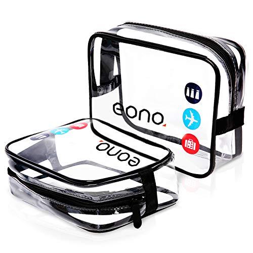 Eono by Amazon - Beauty Case da Viaggio Clear Borsa da Viaggio Impermeabile Cosmetici Trousse Trasparente Toiletry Bag Kit da Aereo per Liquidi Unisex Sacchetti di Trucco, Trasparente, 2 Pcs