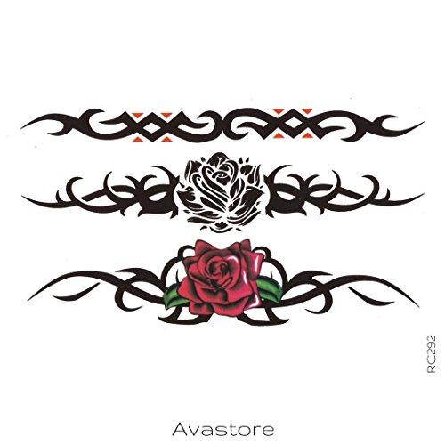 AVASTORE - Tatuaggio temporaneo da donna con fiore rosa, braccialetto tribale, motivo: fiore rosa