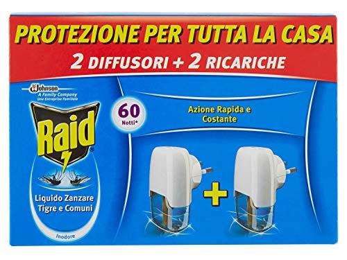 Raid Liquido Elettrico Antizanzare Tigre e Comuni Pacco Promo, Contiene 2 Diffusori e 2 Ricariche, 60 Notti, Inodore