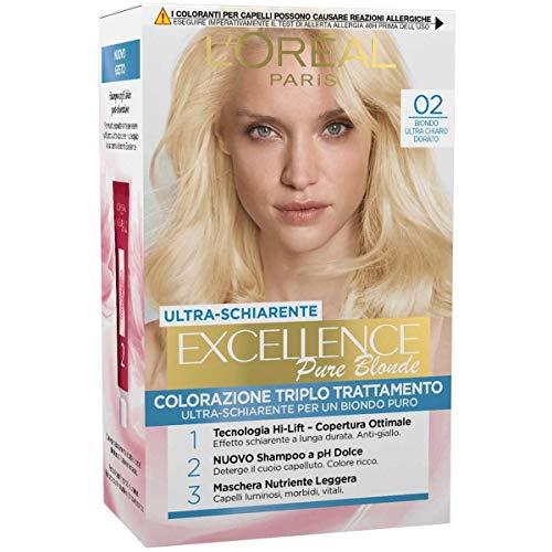 L'Oréal Paris Tinta Capelli Excellence, 02 Biondo Ultra Chiaro Dorato