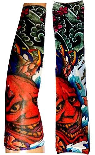 Inception Pro Infinite W88 - Modello 61 - Manicotto Tattoo - Indossabile - Manica - Tatuaggio Finto - Immagine - Diavolo - Demone - Fiori - Fantasia - Scritta - Tatoo - Mezza Manica - Tribale