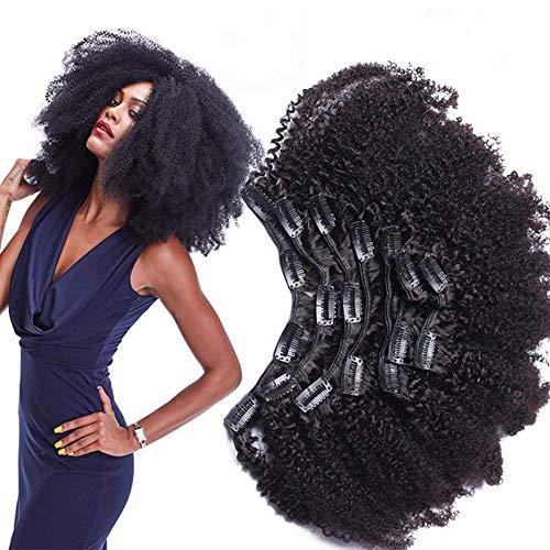 Morningsilkwig Afro Kinky Curly Clip Extensions Capelli Mollette Per Capelli Clip in Piena Testa 8pcs/120g Brasiliano Remy Fermaglio 120g (10inch/25cm 8pcs/120g, Nero)