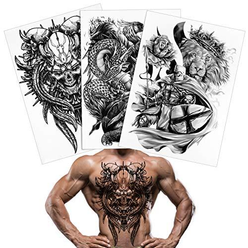 Qpout Tatuaggio posteriore completo per uomo donna 3 fogli, 18,8x13,3 pollici grande immagine tatuaggi neri, totem tribale impermeabile tatuaggi temporanei realistici decorazione tatuaggi adesivi