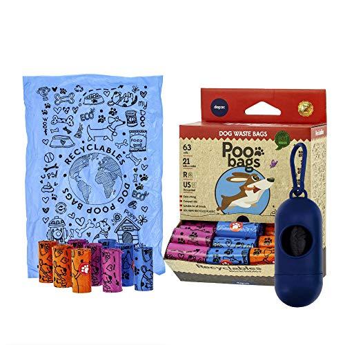 Sacchetti cane + Porta sacchetti  300 Sacchetti  Sacchetti per cani Ecologici adatti a tutte le razze e misure Sacchetti cani Eco + portasacchetti per guinzaglio Sacchettini cani eco per bisogni