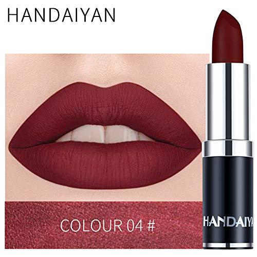 zroven HANDAIYAN Professional Matte 12 colori trucco rossetto labbra rossetto impermeabile lunga durata pigmento velluto opaco rossetto labbra opaco (4#)