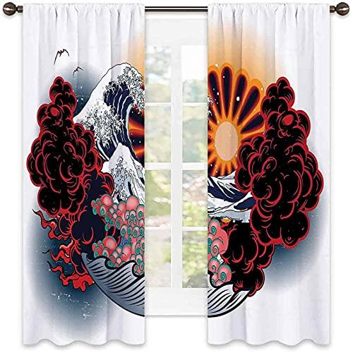Tatuaggio 99% Tenda oscurante Giapponese Paesaggio delle onde del Sole, con stampa culturale rossa e rosa, per camera da letto, asilo, soggiorno, larghezza 100 x lunghezza 100 cm, multicolore
