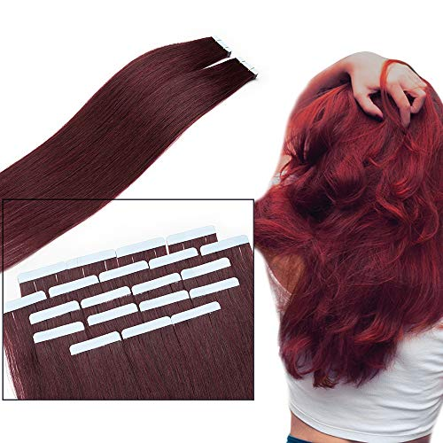 60cm Extension Capelli Veri Biadesivo #99J Rosso Vino Tape on Extension 100% Remy Human Hair Capelli Lisci Naturali, 10 Fasce Pesa 25g