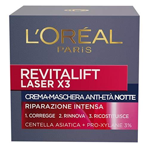 L'Oréal Paris Dermo Expertise Soin, Revitalift Laser X3 Crema-Maschera Anti-Età Notte, con Acido Ialuronico, 50 ml