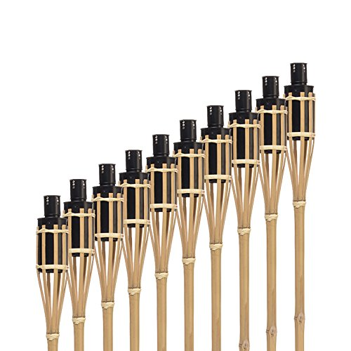 Hussala Turin Fiaccola Bambu da Giardino - Ricaricabile - Lunghezza 100 cm [10 pz.]
