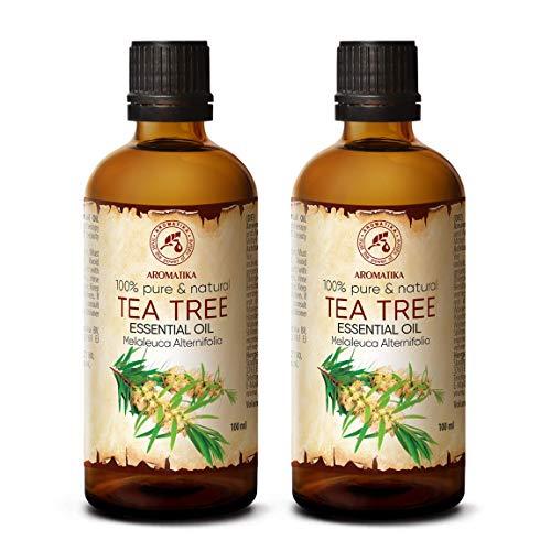 Tea Tree Oil Puro e Naturale Olio Essenziale Ideale per Aromaterapia - Rilassamento - Diffusore - Lampada Aromatica - Cura del Corpo Melaleuca Alternifolia - Australia - 200ml