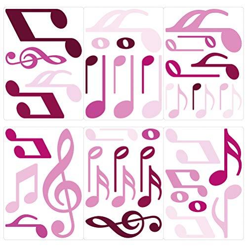dekodino® Adesivo murale nota musicale orchidea camera ragazzo decoro set