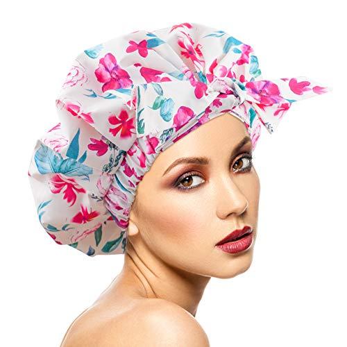 Cuffia da doccia da donna, impermeabile, riutilizzabile, extra large per capelli lunghi, regolabile per la maggior parte delle teste (2)