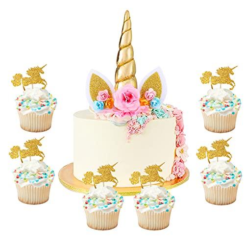 Hifot Unicorn Cake Topper Decorazioni Torte, 24 Pezzi Glitter Addobbi Unicorno Party Supplies per Baby Shower Feste Forniture Cibo Decorazione