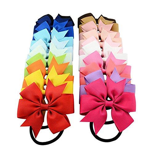 20colori alta qualità Boutique Ribbon Bow con capelli elastici cute Pinwheel accessori per capelli per bambine