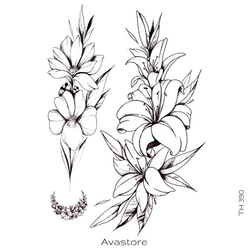AVASTORE - Tatuaggio temporaneo da donna, fiore di giglio, tatuaggio temporaneo, da donna