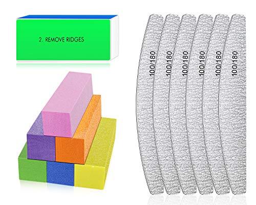 Lime e buffer per unghie - Lima per unghie Professionali per la lucidatura delle unghie, Strumenti per unghie per gel per unghie per Unghie in Cristallo Naturale Acrilico (multicolore)