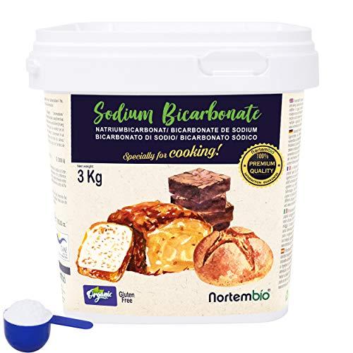 Nortembio Bicarbonato di Sodio Biologico 3 kg. Uso Alimentare. Speciale per Cucinare. Qualitá Premium. E-Book Incluso.