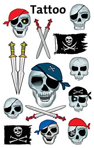 Avery Zweckform 56390 Tatuaggi temporanei per bambini, Designs Teschio, 1 foglio x 10 tatuaggi