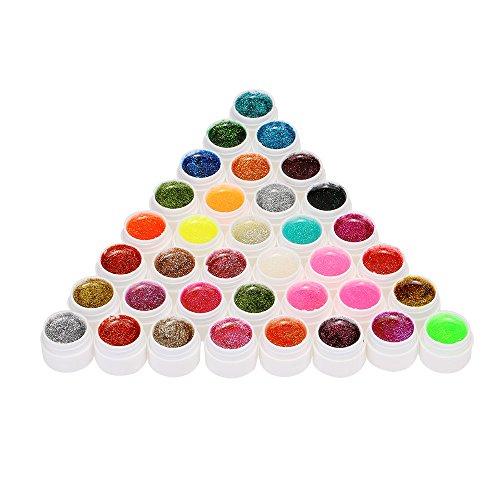 Anself - Set smalto per unghie brillantinato in 36colori assortiti
