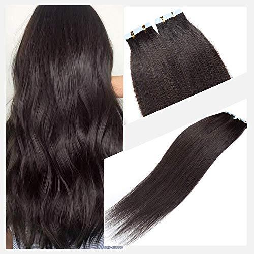 Elailite Extension Adesive Capelli Veri Biadesivo 40 Ciocche Biadesive senza Clip Remy Human Hair Tape Extensions 40cm 120g #1B Nero Naturale