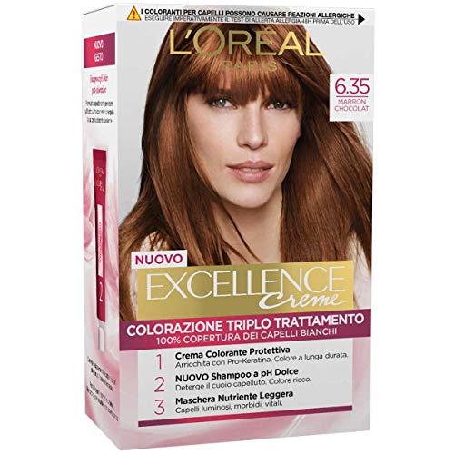 L'Oréal Paris Tinta Capelli Excellence, Copre i Capelli Bianchi, Colore Ricco, Luminoso e a Lunga Durata, 6.35 Marron Chocolat, Confezione da 1