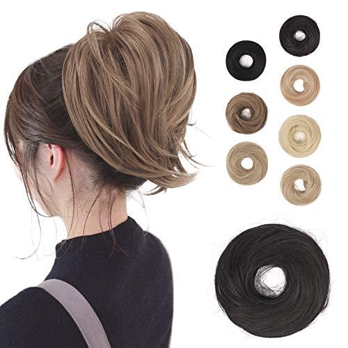 BARSDAR - Extension per chignon a coda di cavallo, capelli lisci sintetici, completamente corti, per chignon a coda di cavallo, accessorio per capelli, elastico e facile da pulire, per donne