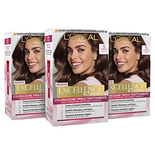 L'Oréal Paris Tinta Capelli Excellence, Copre Il 100% dei Capelli Bianchi, a Lunga Durata, 5 Castano Chiaro, Confezione da 3