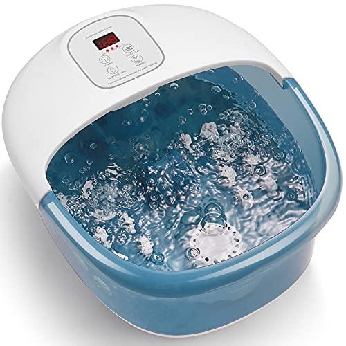 Massaggiatore per Pediluvio con 14 rulli massaggianti e vibrazione della bolla di calore, lenire i piedi, controllo digitale della temperatura, vasca da bagno pedicure per uso domestico