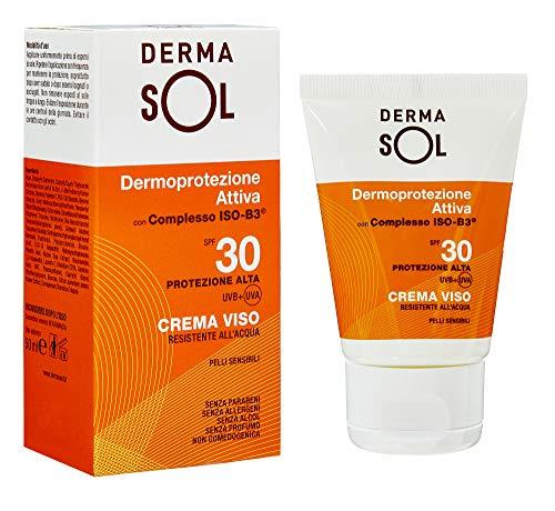 Dermasol Crema Solare Viso Protezione Alta, SPF 30 con Estratti di Fiori d'Arancio - 50 ML