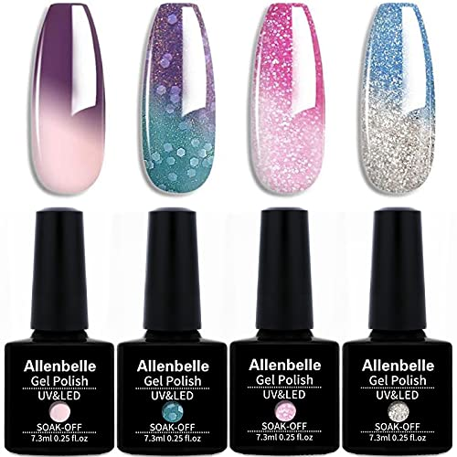 Allenbelle Smalto Semipermanente Camaleonte Nail Polish UV LED Gel Unghie (Kit di 4 pcs 7.3ML/pc) 007