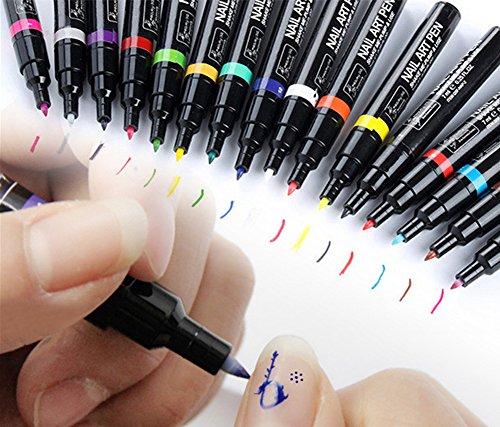 TININNA Penne per Nail Art Design Unghie Fai da Te Pen 3D Painted 16 Colori(#1) 1pz